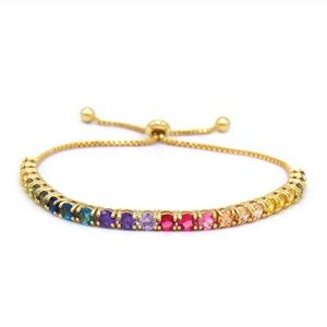 Jewelry - Adjustable multi Color rainbow tennis bracelet